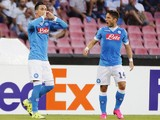 Napoli's Spanish forward Jose Maria Callejon (L) celebrates next to his teammate Napoli's Belgian forward Dries Mertens after scoring during the UEFA Europa League Group D football match SSC Napoli vs Club Brugge KV on September 17, 2015 at the San Paolo