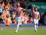 Marc Wilson of Stoke City celebrates his team's second goall by Jonathan Walters (not pictured) during the Barclays Premier League match between Stoke City and Leicester City at Britannia Stadium on September 19, 2015 in Stoke on Trent, United Kingdom.