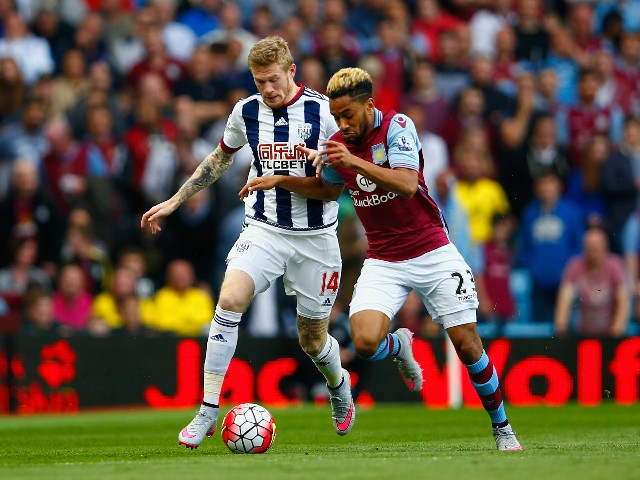 James McClean of West Bromwich Albion and Jordan Amavi of Aston Villa compete for the ball during the Barclays Premier League match between Aston Villa and West Bromwich Albion at Villa Park on September 19, 2015 in Birmingham, United Kingdom.