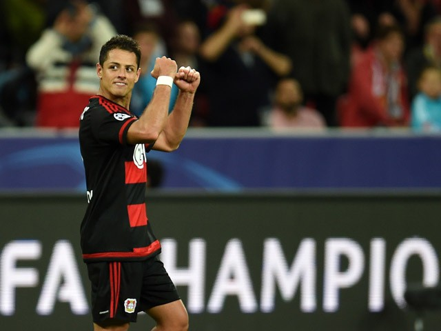 Leverkusen's Mexican striker Javier Hernandez celebrates scoring during the UEFA Champions League group E first leg football match between Bayer 04 Leverkusen and FC Bate Borisov in Leverkusen, western Germany on September 16, 2015