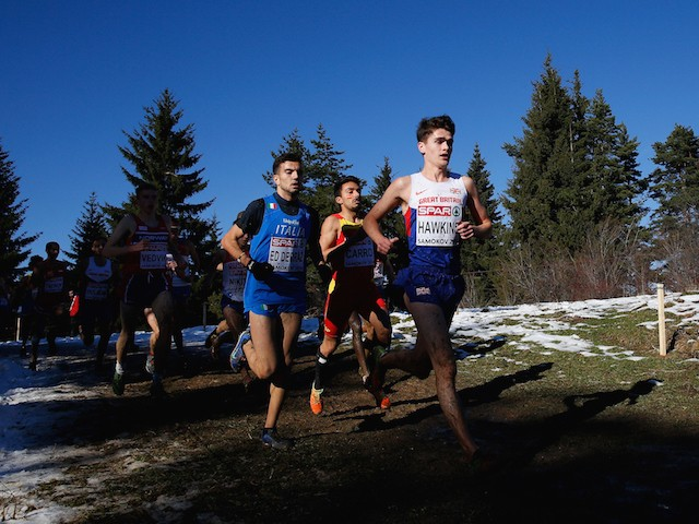 Callum Hawkins of Great Britain leads the U23 Men's Race during the European Cross-Country Championships on December 14, 2014 in Samokov, Bulgaria.