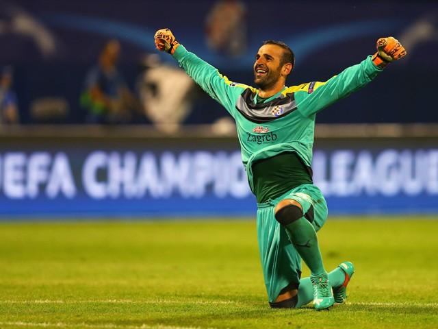 Eduardo of Dinamo Zagreb celebrates after the UEFA Champions League Group F match between Dinamo Zagreb and Arsenal at Maksimir Stadium on September 16, 2015