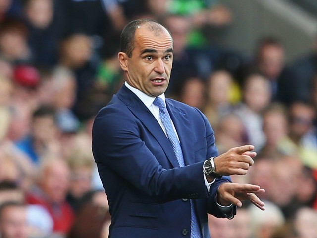 Roberto Martinez Manager of Everton looks on during the Barclays Premier League match between Swansea City and Everton at the Liberty Stadium on September 19, 2015 in Swansea, United Kingdom.