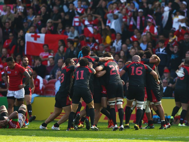 The Georgia team celebrate at the final whistle during the 2015 Rugby World Cup Pool C match between Tonga and Georgia at Kingsholm Stadium on September 19, 2015