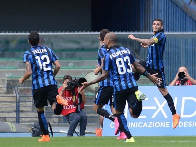 Mauro Icardi of Internazionale Milano celebrates after scoring the opening goal during the Serie A match between AC Chievo Verona and FC Internazionale Milano at Stadio Marc'Antonio Bentegodi on September 20, 2015
