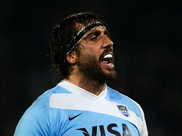 Juan Martin Fernandez Lobbe of Argentina makes a lineout call during The Rugby Championship match between the New Zealand All Blacks and Argentina at McLean Park on September 6, 2014