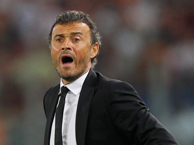 FC Barcelona head coach Luis Enrique reacts during the UEFA Champions League Group E match between AS Roma and FC Barcelona at Stadio Olimpico on September 16, 2015