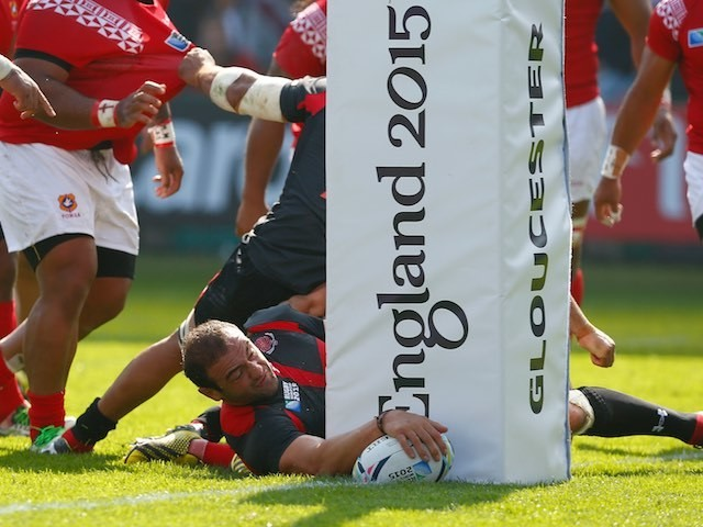 Georgia captain Mamuka Gorgodze scores his team's first try against Tonga in the Rugby World Cup on September 19, 2015