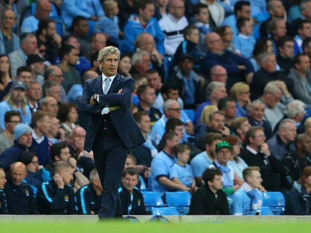 Manuel Pellegrini manager of Manchester City looks on during the Barclays Premier League match between Manchester City and West Ham United at Etihad Stadium on September 19, 2015