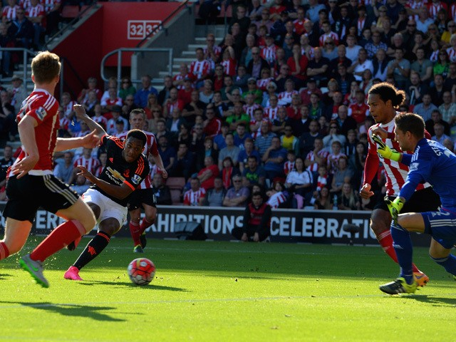Anthony Martial of Manchester United scores their first goal during the Barclays Premier League match between Southampton and Manchester United at St Mary's Stadium on September 20, 2015