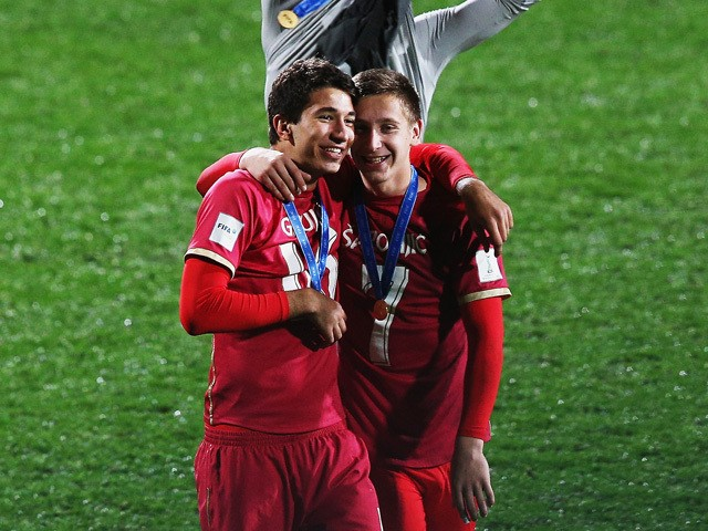 Marko Grujic of Serbia and Ivan Saponjic of Serbia celebrate after winning the FIFA U-20 World Cup Final match between Brazil and Serbia at North Harbour Stadium on June 20, 2015