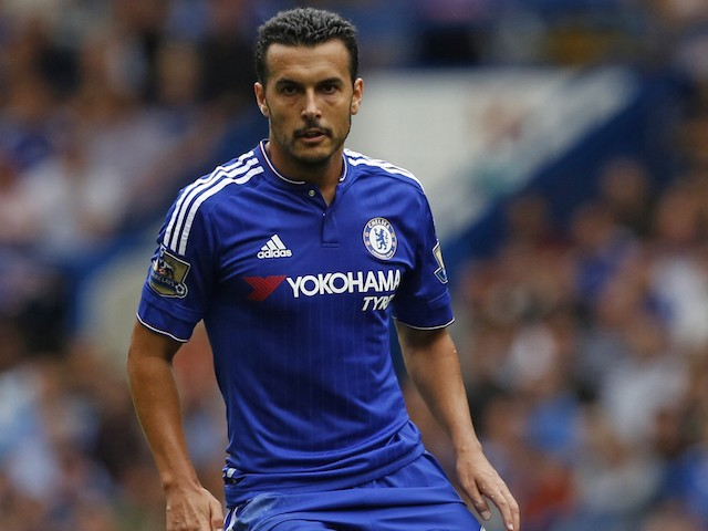 Chelsea's Spanish midfielder Pedro runs with the ball during the English Premier League football match between Chelsea and Crystal Palace at Stamford Bridge in London on August 29, 2015. Crystal Palace won the game 2-1.