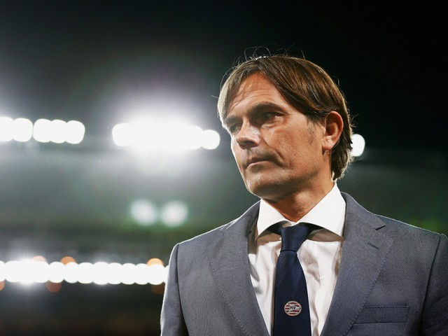 Phillip Cocu, coach of PSV Eindhoven looks on during the UEFA Champions League Group B match between PSV Eindhoven and Manchester United at PSV Stadion on September 15, 2015