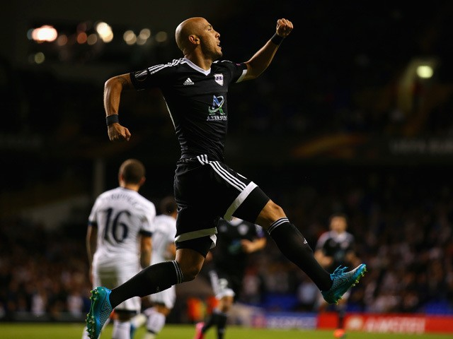 Richard Almeida de Oliveria of FK Qarabagcelebrates scoring the opening goal from the penalty spot during the UEFA Europa League Group J match between Tottenham Hotspur FC and Qarabag FK at White Hart Lane on September 17, 2015