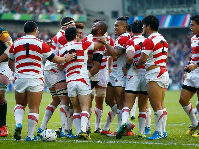 Jpaan players celebrate the try of Michael Leitch of Japan during the 2015 Rugby World Cup Pool B match between South Africa and Japan at the Brighton Community Stadium on September 19, 2015 in Brighton, United Kingdom