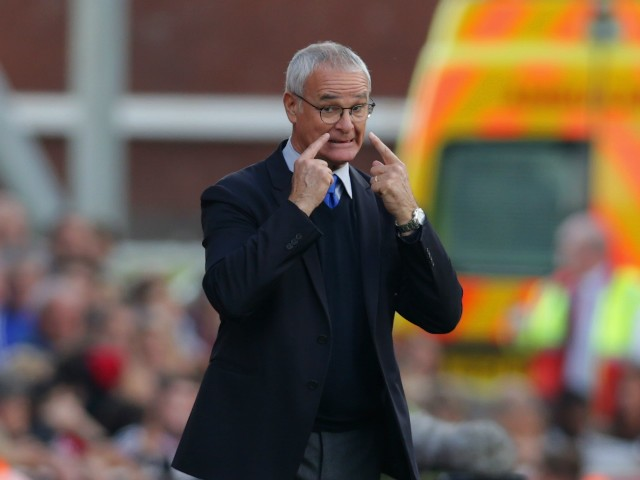 Claudio Ranieri Manager of Leicester City looks on during the Barclays Premier League match between Stoke City and Leicester City at Britannia Stadium on September 19, 2015 in Stoke on Trent, United Kingdom.