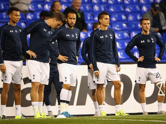 Andros Townsend of Tottenham Hotspur (C) looks on as the players warm up prior to the UEFA Europa League Group J match between Tottenham Hotspur FC and Qarabag FK at White Hart Lane on September 17, 2015 in London, United Kingdom.