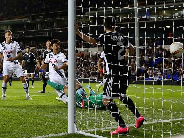 Son Heung-Min of Tottenham Hotspur scores their first goal during the UEFA Europa League Group J match between Tottenham Hotspur FC and Qarabag FK at White Hart Lane on September 17, 2015