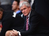 Mark Hughes manager of Stoke City looks on prior to the Barclays Premier League match between Stoke City and A.F.C. Bournemouth at Britannia Stadium on September 26, 2015
