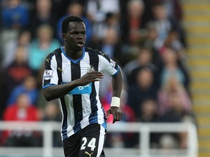 Cheick Tiote of Newcastle United in action during the Capital One Cup Second Round between Newcastle United and Northampton Town at St James' Park on August 25, 2015