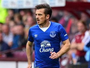 Leighton Baines of Everton in action during a pre season friendly match between Heart of Midlothian and Everton FC at Tynecastle Stadium on July 26, 2015