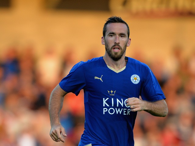 Christian Fuchs of Leicester City during the Pre Season Friendly match between Burton Albion and Leicester City at Pirelli Stadium on July 28, 2015