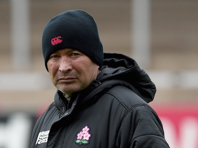 Japan's head coach Eddie Jones is pictured as he supervises a team training session at Kingsholm Stadium in Gloucester, western England, on September 22, 2015, during the 2015 Rugby World Cup.