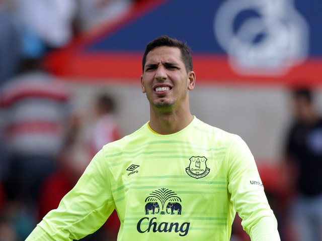Joel Robles of Everton in action during the Pre Season Friendly match between Swindon Town and Everton at the County Ground on July 11, 2015