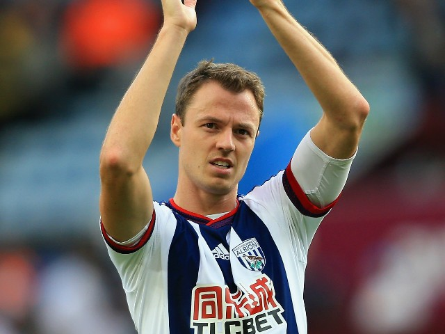 Jonny Evans of West Bromwich Albion celebrates his team's 1-0 win in the Barclays Premier League match between Aston Villa and West Bromwich Albion at Villa Park on September 19, 2015 in Birmingham, United Kingdom.