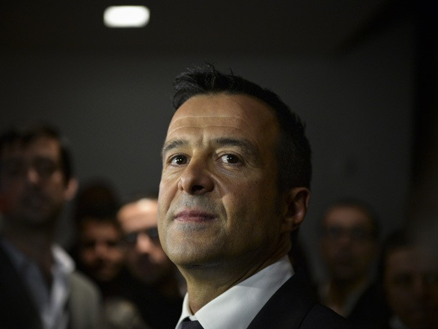 Portuguese football manager Jorge Mendes stands in front of the press during the release of the book 'The Special Agent' written by Miguel Cuesta and Jonathan Sanchez in Lisbon on February 2, 2015