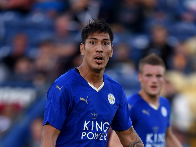 Leonardo Ulloa of Leicester City in action during the pre season friendly match between Mansfield Town and Leicester City at the One Call Stadium on July 25, 2015