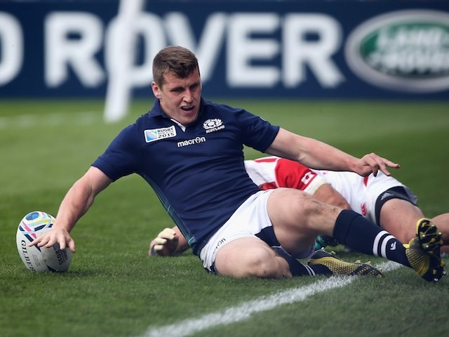 Mark Bennett scores for Scotland during the Rugby World Cup game with Japan on September 23, 2015