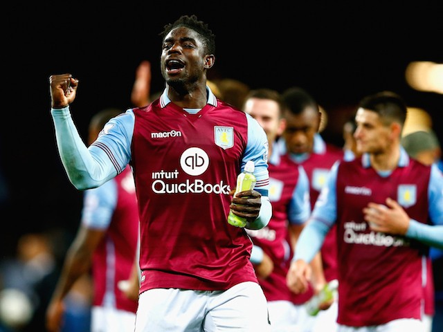 Micah Richards of Aston Villa celebrates victory after the Capital One Cup third round match between Aston Villa and Birmingham City at Villa Park on September 22, 2015 in Birmingham, England.