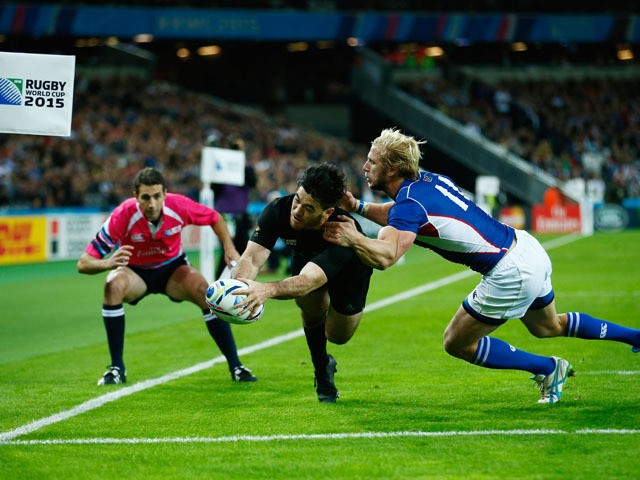 Nehe Milner-Skudder of the New Zealand All Blacks scores his teams fifth try during the 2015 Rugby World Cup Pool C match between New Zealand and Namibia at the Olympic Stadium on September 24, 2015