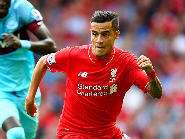 Philippe Coutinho of Liverpool in action during the Barclays Premier League match between Liverpool and West Ham United at Anfield on August 29, 2015