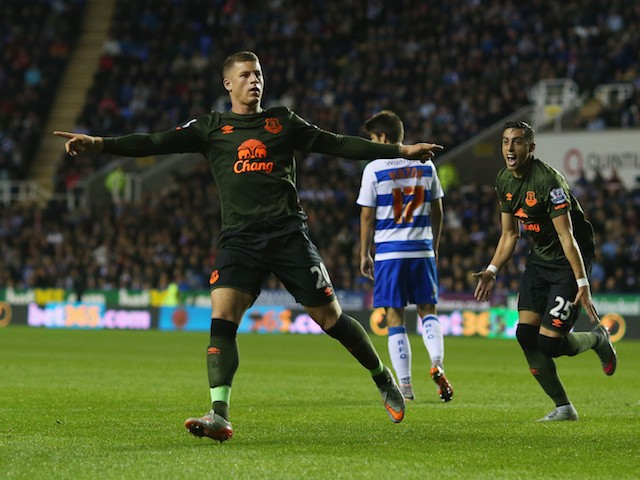 Ross Barkley of Everton celebrates scoring their first goal during the Capital One Cup third round match between Reading and Everton at Madejski Stadium on September 22, 2015 in Reading, England.