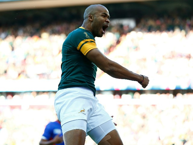 JP Pietersen of South Africa celebrates scoring the opening try during the 2015 Rugby World Cup Pool B match between South Africa and Samoa at Villa Park on September 26, 2015 in Birmingham, United Kingdom.