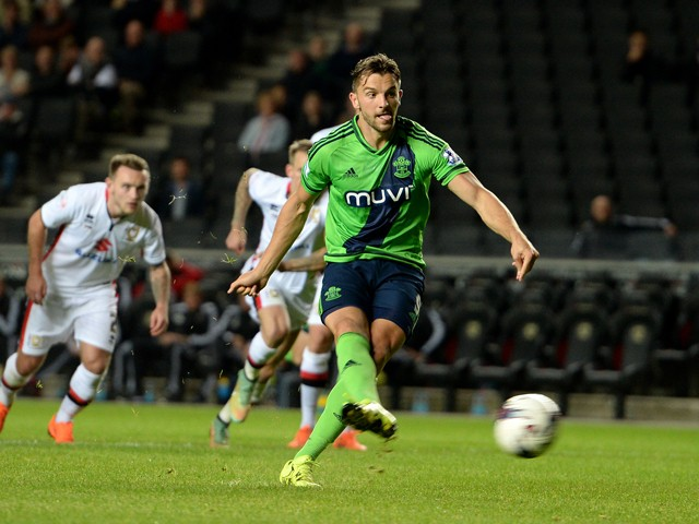 Jay Rodriguez of Southampton scoring their fourth goal from the penalty spot during the Capital One Cup third round match between MK Dons and Southampton at Stadium mk on September 23, 2015