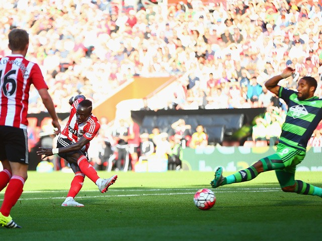 Sadio Mane of Southampton scores his team's third goal during the Barclays Premier League match between Southampton and Swansea City at St Mary's Stadium on September 26, 2015