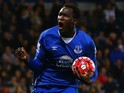 Romelu Lukaku of Everton celebrates as he scores their first goal during the Barclays Premier League match between West Bromwich Albion and Everton at The Hawthorns on September 28, 2015 in West Bromwich, United Kingdom.
