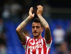 Joselu of Stoke City applauds the fans following the Barclays Premier League match between Tottenham Hotspur and Stoke City on August 15, 2015