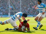 Kurt Morath of Tonga goes over to score their first try during the 2015 Rugby World Cup Pool C match between Argentina and Tonga at