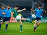 Jonathan Sexton of Ireland kicks the ball during the 2015 Rugby World Cup Pool D match between Ireland and Italy at the Olympic Stadium on October 4, 2015