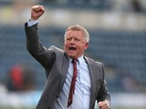 Northampton Town manager Chris Wilder celebrates victory at the final whistle during the Sky Bet League Two match between Wycombe Wanderers and Northampton Town at Adams Park on October 3, 2015