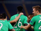 Mustapha Bayal Sall (C) with his teammates of AS Saint-Etienne celebrates after scoring the opening goal during the UEFA Europa League group G match between SS Lazio and AS Saint-Etienne at Olimpico Stadium on October 1, 2015