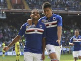 Luis Fernando Muriel (L) of UC Sampdoria celebrates with his team-mate Carlos Joaquin Correa (R) after scoring the opening goal during the Serie A match between UC Sampdoria and FC Internazionale Milano at Stadio Luigi Ferraris on October 4, 2015