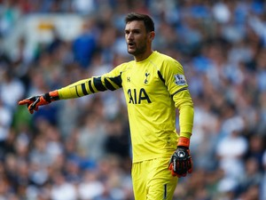 Hugo Lloris of Tottenham Hotspur gestures during the Barclays Premier League match between Tottenham Hotspur and Manchester City at White Hart Lane on September 26, 2015 in London, United Kingdom.