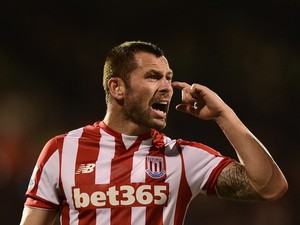 Phil Bardsley of Stoke City gestures during the Capital One Cup Third Round match between Fulham and Stoke City at Craven Cottage on September 22, 2015