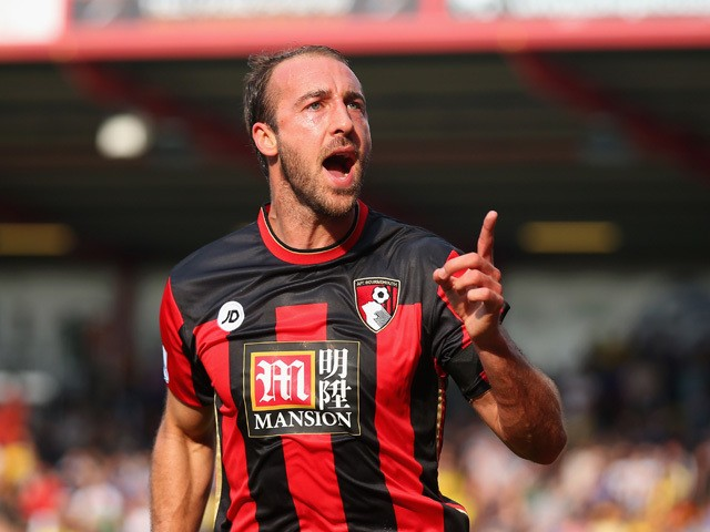 Glenn Murray of Bournemouth celebrates scoring his team's first goal during the Barclays Premier League match between A.F.C. Bournemouth and Watford at Vitality Stadium on October 3, 2015