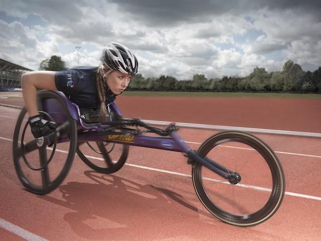 British wheelchair athlete and BT Ambassador Hannah Cockroft MBE in action.